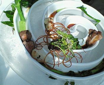 ベビーラムのソテー春野菜のスピラル仕立て