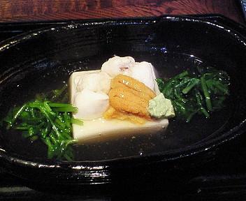 胡麻豆腐と雲丹・白子
