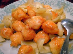 海老団子と百合根炒め
