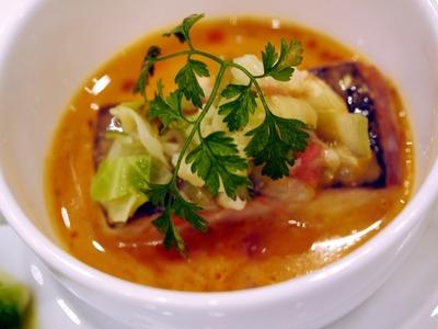 平目のコンフィとスープ