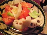 蓮根とソラマメとトマトの煮浸し