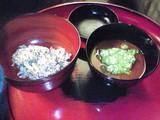 沢庵飯とカボチャのすり胡麻白玉味噌汁 オクラ添え
