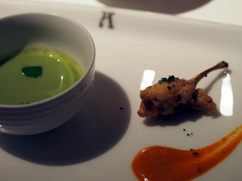 空豆とグリーンアスパラの冷製スープ