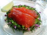 桜鱒のマリネ そら豆・枝豆・松の実