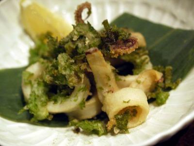 ヤリイカとわさび菜のフリット セロリソルト