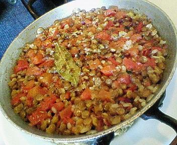 レンズ豆と生ハムのお米料理