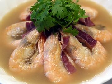 天使の海老と凍らせ豆腐の金華ハム煮込み