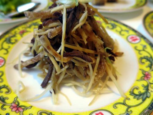 鹿肉筍干し椎茸の山椒風味和え