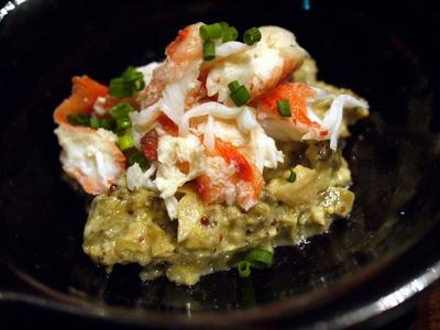茄子のなめろうとタラバ蟹の冷菜