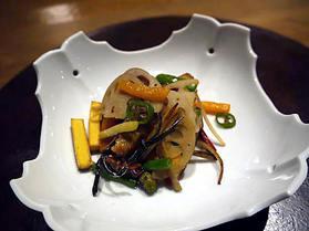 朝摘み野菜のおひたし 湯葉の蒲焼
