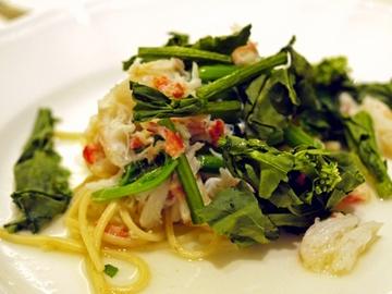 ずわい蟹と菜の花のパスタ