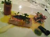 金目鯛のポワロ葱巻き、鱈の白子のハーブ風味と百合根のピュレと共に