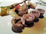 鶉の腿肉ローストと胸肉のフォアグラと茸巻き