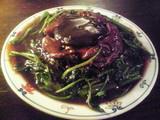 發菜と干し牡蠣と豚カシラ、豚舌の煮込み