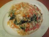 蟹肉と蟹卵あんかけの青菜炒め