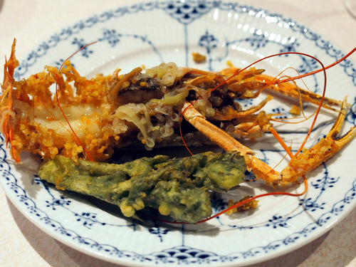 赤座海老とたらの芽の葱生姜炒め