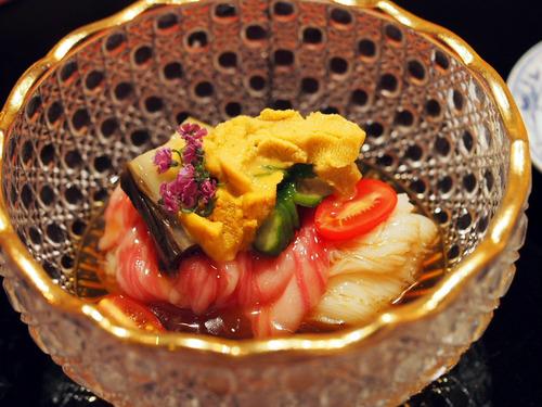 サーロインと雲丹の素麺