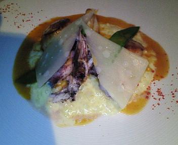 帆立貝とひいかのポワレリゾット添えオマール海老のソース