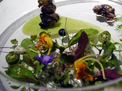 つぶ貝の串焼きとマイクロ野菜のサラダ