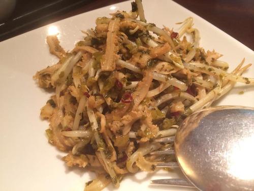 牛ハチノスと高菜の山椒風味炒め