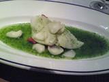 鮮魚の葱生姜蒸し 香菜ソース