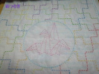 十字つなぎと折り鶴