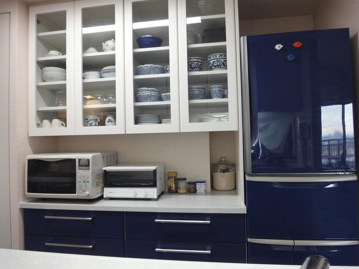 キッチンカラーと合わせたカラー冷蔵庫だと、統一感が素敵です