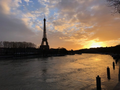 Eiffel tower and sunset