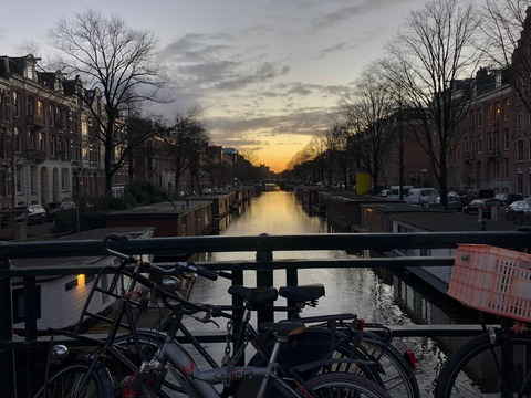 Amsterdam canal and sunset