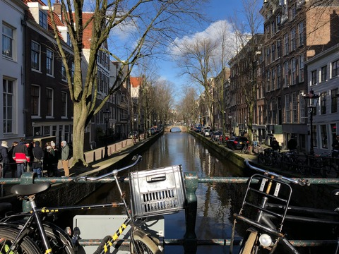amsterdam canal and blue sky