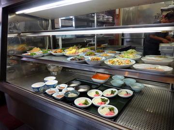 さかゐ食堂@扇町(7)月見そば310おかず大(ハムエッグ)250
