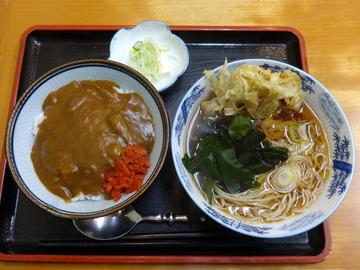 どん八@大鳥居(4)おはようセット450ごぼうそばミニカレー丼