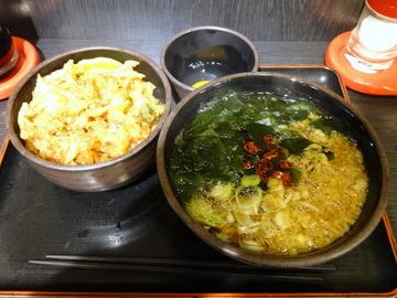 ゆで太郎大井町店@大井町(4)かきあげ丼セット温そば500たまご60