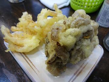 おにやんま@青物横丁 (3)蒸し鶏新玉食べラー冷う600舞茸天150