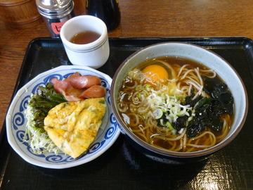 さかゐ食堂@扇町(12)月見そば310おかず大(ハムエッグ)250