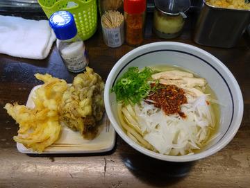 おにやんま@青物横丁 (4)蒸し鶏新玉食べラー冷う600舞茸天150
