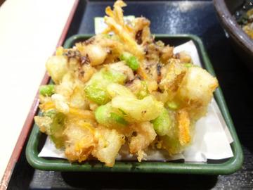 ゆで太郎芝浦4丁目店@三田 (9)夏野菜とゲソのかき揚げそば520
