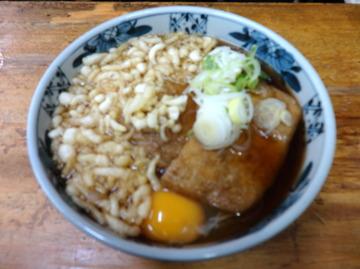 山田製麺所@入谷(2)かけそば260たぬき50きつね80生玉子50