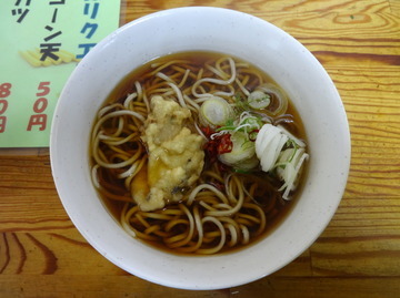 20140130一由そば@日暮里(3)かけそば200牡蠣の天ぷら50