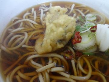 20140130一由そば@日暮里(4)かけそば200牡蠣の天ぷら50