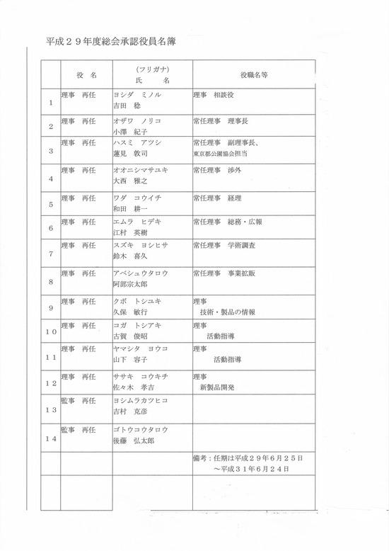 29年度役員名簿