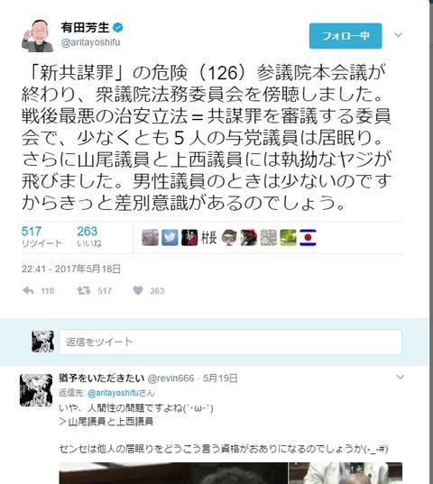 有田芳生ネクスト法務大臣、自分のことは棚に上げて自民党議員の居眠りを糾弾する