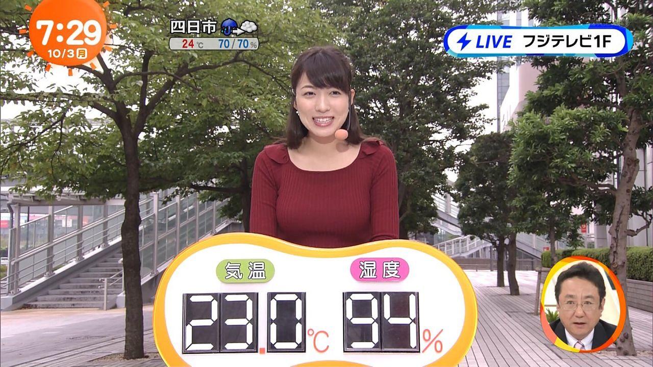 【エンタメ画像】めざましテレビの新しいお天気御姉さんの乳が大きすぎると話題に