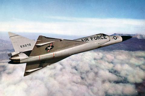 F-102A_in_flight