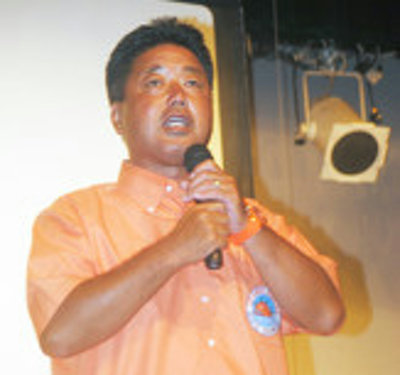 石垣市で県知事選に向け決意表明する下地氏-26日夜