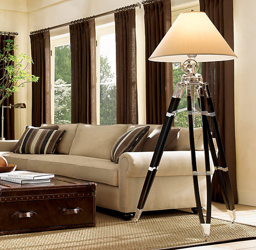 Royal Marine Tripod Floor Lamp_Polished Aluminum and Black_3