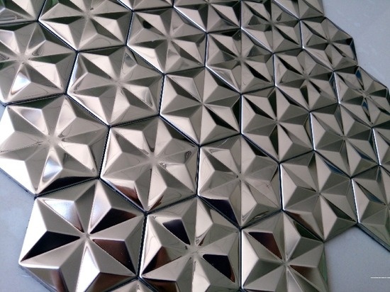 hexagon mosaic tile silver_2