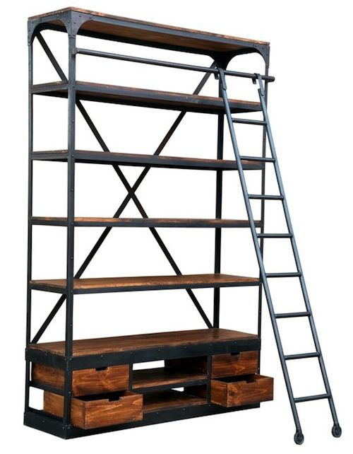 Industrial shelf unit with ladder
