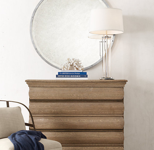 French Column Glass Table Lamp_Polished Nickel