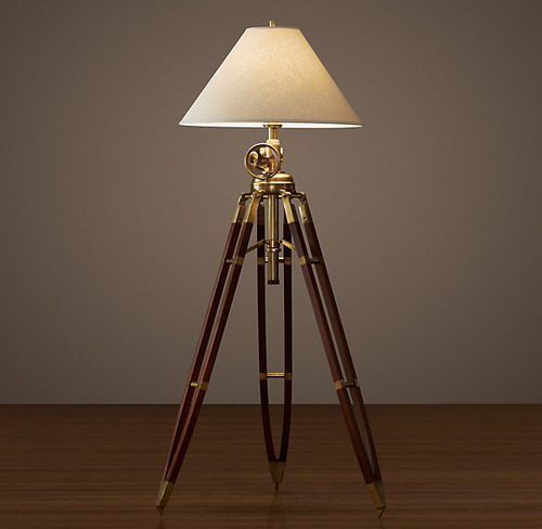 Royal Marine Tripod Floor Lamp_Antique Brass and Brown_1